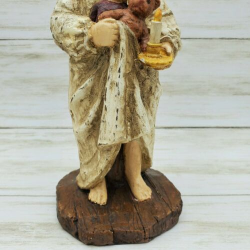 Ragon House Christmas Girl Child with Teddy and Candlestick Figurine - Piglet's Closet