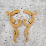 "Woodubend Pair Scrolls #368/369 Moulding Furniture Applique 4.33"" x 1.97"""
