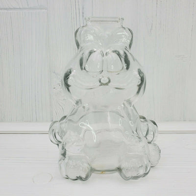 Vintage Garfield the Cat Clear Glass Coin Bank Figurine