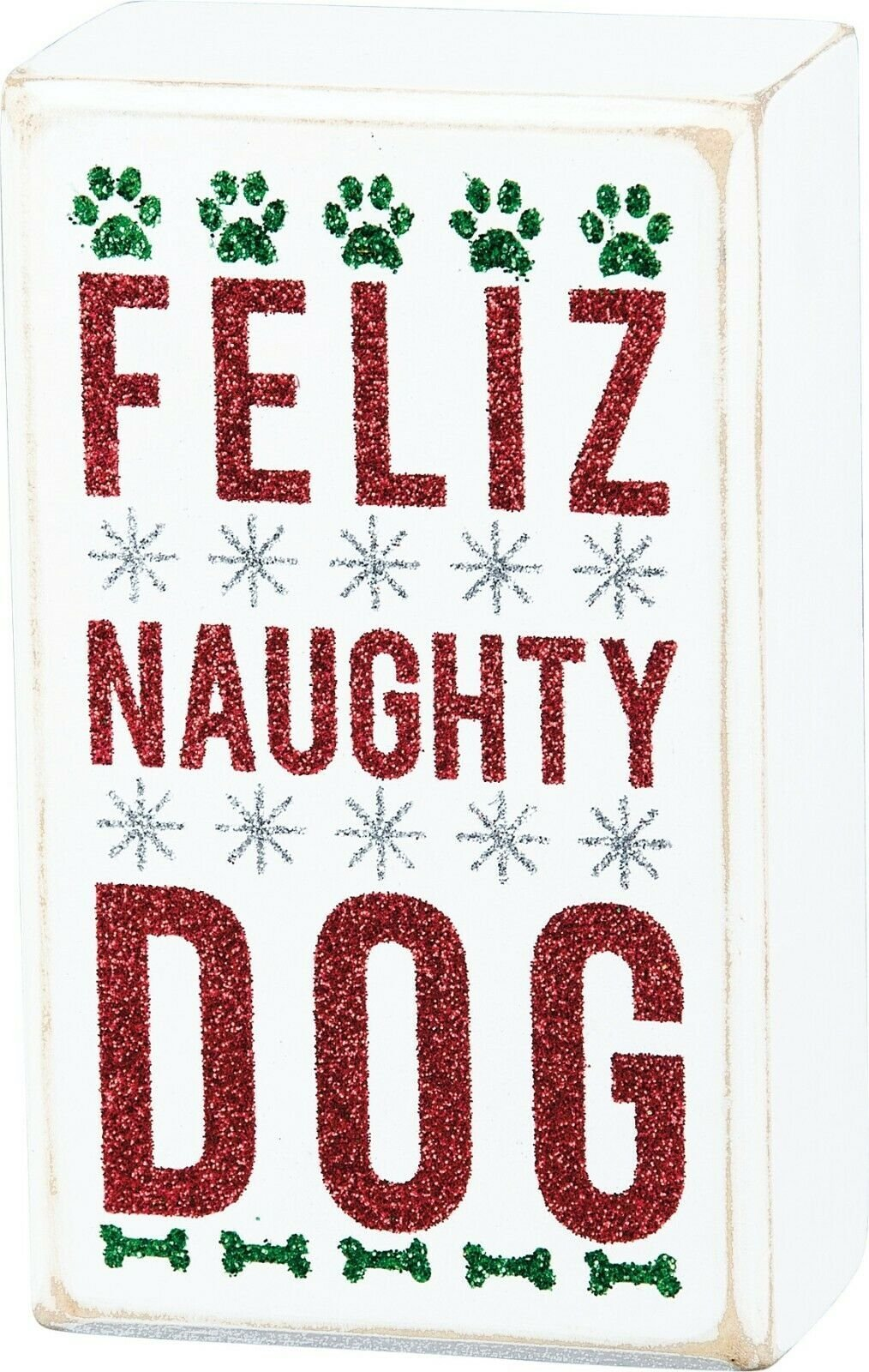 PBK Feliz Naughty Dog Christmas Wood Box Sign - Piglet's Closet