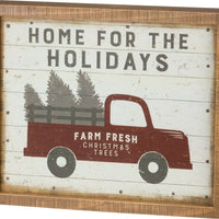 PBK Home For The Holidays Red Truck Inset Christmas Box Sign - Piglet's Closet