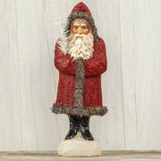 "Ragon House 14"" Red Glitter Belsnickle Santa Tinsel Trim Figurine - Piglet's Closet"
