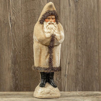 "Ragon House 18"" Antique White Velvet Belsnickle Santa Tinsel Trim Figurine - Piglet's Closet"