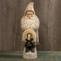 "Ragon House 20"" White Belsnickle Santa with Wreath Tinsel Trim Figurine - Piglet's Closet"