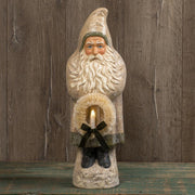 "Ragon House 20"" White Belsnickle Santa with Wreath Tinsel Trim Figurine"
