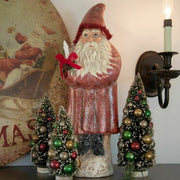 "Ragon House 20"" Red Belsnickle Santa with Candle Tinsel Trim Figurine"