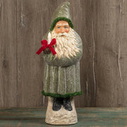 "Ragon House 20"" Green Belsnickle Santa with Candle Tinsel Trim Figurine"