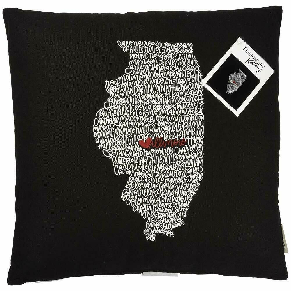 "Primitives by Kathy Illinois Home State Love Black 18"" Throw Pillow - Piglet's Closet"