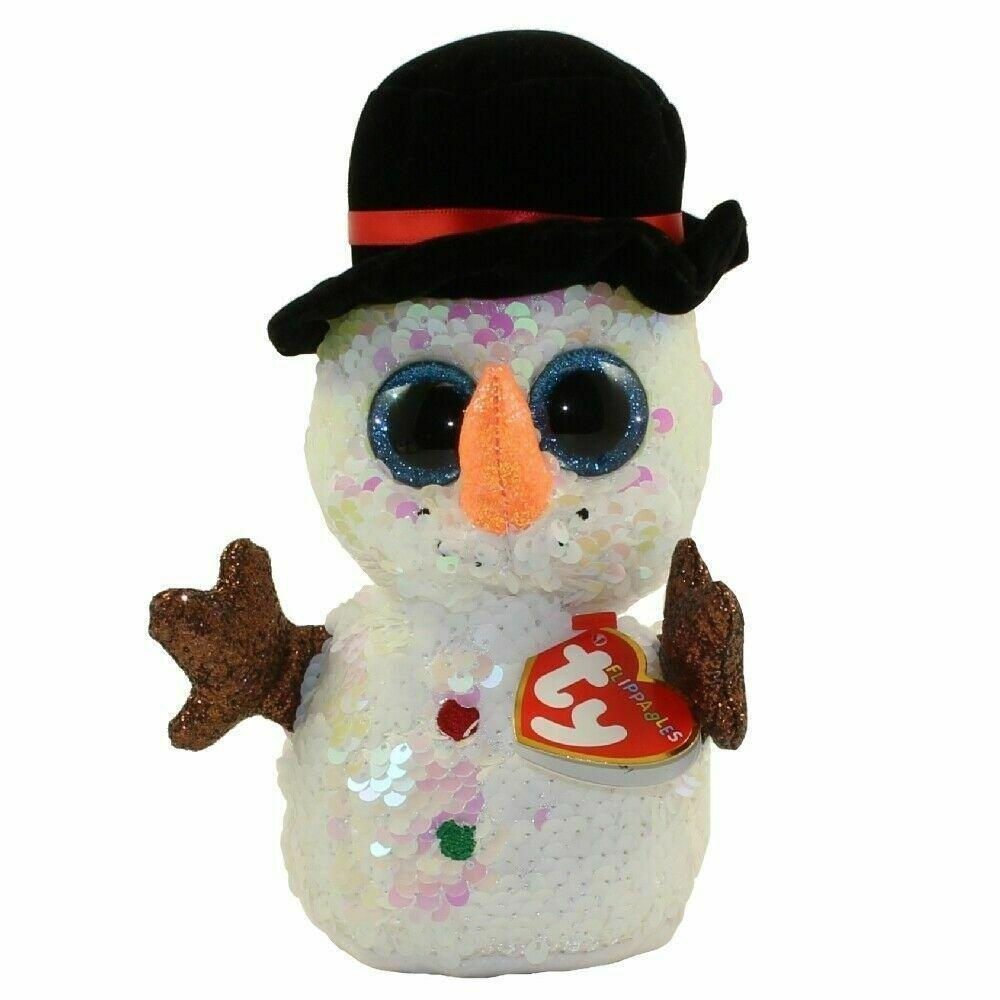 "TY Flippables Sequin MELTY the Snowman 10.5"" Plush - Piglet's Closet"