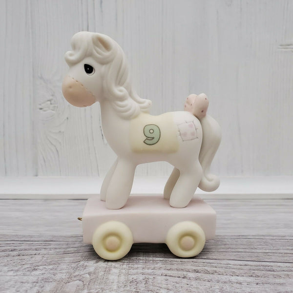 2014 Precious Moments Birthday Train Age 9 Years Old Pony Figurine 142029 - Piglet's Closet