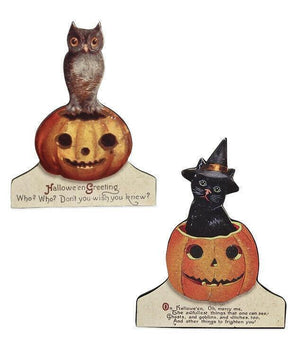 Bethany Lowe Designs Halloween Friends Cat Owl Dummy Board Figure