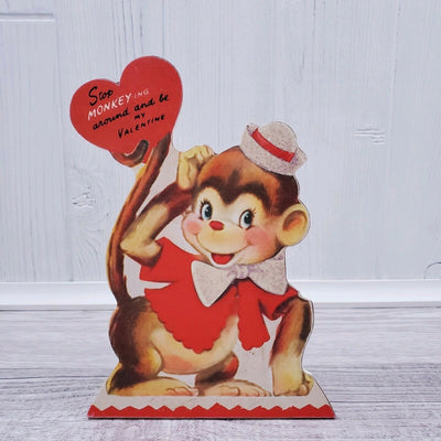 Bethany Lowe Valentines Wild About You Retro Animal Monkey Dummy Board - Piglet's Closet
