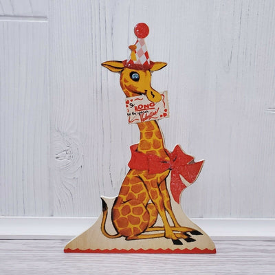 Bethany Lowe Valentines Wild About You Retro Animal Giraffe Dummy Board