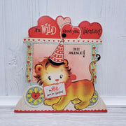 Bethany Lowe Valentines Wild About You Retro Animal Lion Dummy Board