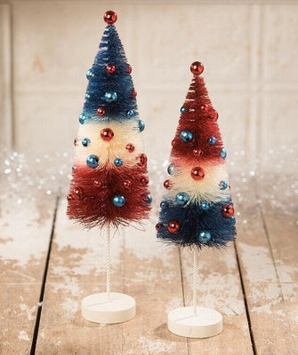 Bethany Lowe St. Americana Red White Blue Bottlebrush Tree Set - Piglet's Closet