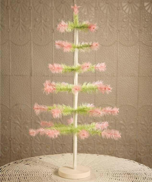 "Bethany Lowe Designs Easter Spring Pastel 24"" Green Pink Feather Tree - Piglet's Closet"
