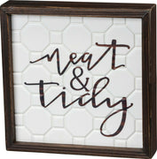 PBK Neat and Tidy Bathroom Laundry Room Wood Inset Box Sign