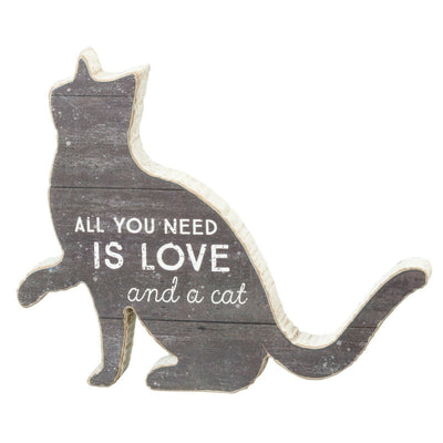 PBK All You Need Is Love and A Cat Wood Chunky Sitter Sign