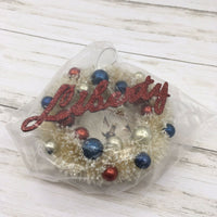Bethany Lowe Designs Mini Liberty Red White Blue Wreath Ornament 4th July