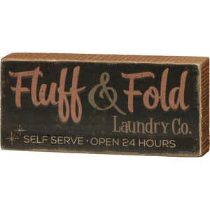 PBK Retro Fluff & Fold Laundry Co Self Serve Wood Sign - Piglet's Closet