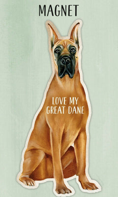 Love my Love my Great Dane Dog Shaped Magnet by Primitives By Kathy