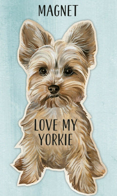Love my Yorkie Yorkshire Terrier Dog Shaped Magnet by Primitives By Kathy