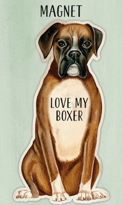 Love my Love my Boxer Dog Shaped Magnet by Primitives By Kathy