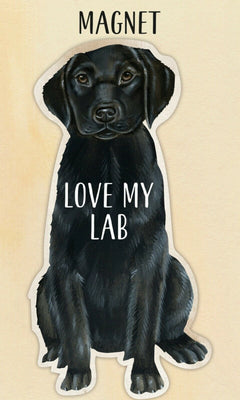 Love my Love my Black Lab Retriever Dog Shaped Magnet by Primitives By Kathy