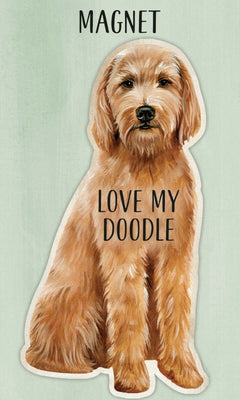 Love my Love my Goldendoodle Dog Shaped Magnet by Primitives By Kathy