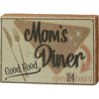PBK Retro Mom's Diner Good Food Open 24 Hours Kitchen Wood Sign - Piglet's Closet