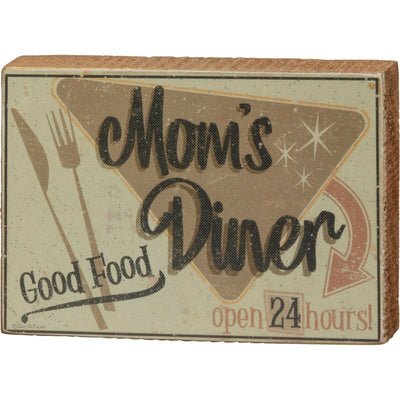 PBK Retro Mom's Diner Good Food Open 24 Hours Kitchen Wood Sign