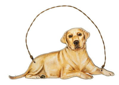 Primitives by Kathy Yellow Lab Retriever Dog Wood Ornament