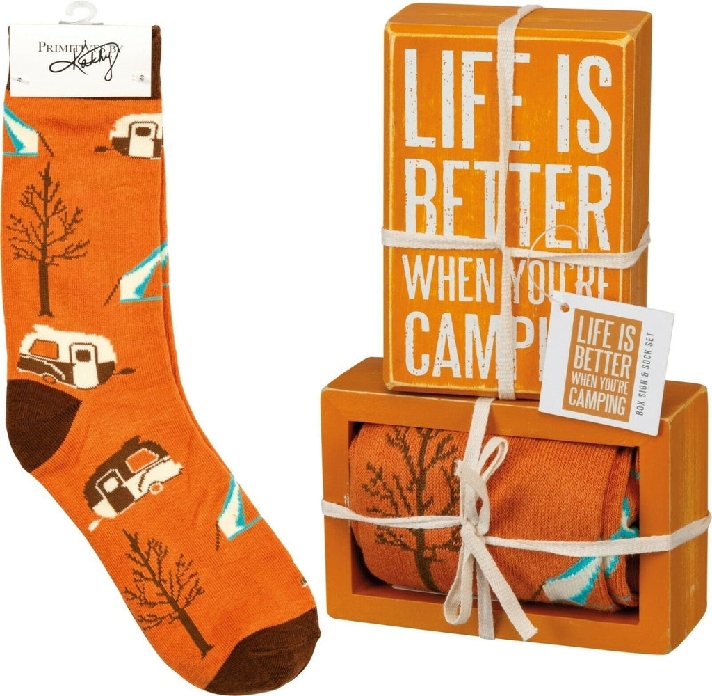 PBK Life Is Better Camping Wood Sign and Socks Gift Set - Piglet's Closet