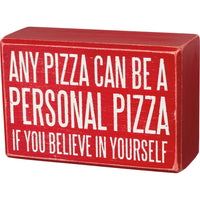 "PBK Any Pizza Can Be A Personal Pizza If You Believe"" Wood Sign & Socks Gift Set - Piglet's Closet"
