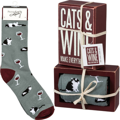 PBK Cat and Wine Make Everything Fine Wood Sign & Socks Gift Set - Piglet's Closet