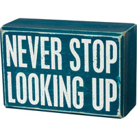 "PBK ""Never Stop Looking Up"" Outer Space Wood Sign and Socks Gift Set - Piglet's Closet"
