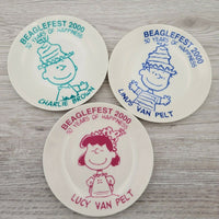 Beaglefest 2000 Peanuts Gang Charlie Brown Lucy Collector Club Ceramic Plate Set - Piglet's Closet