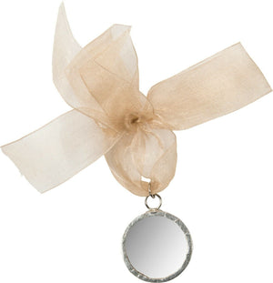 "Primitives by Kathy Mirror Metal .1.25"" Circle Christmas Ornament with Ribbon - Piglet's Closet"