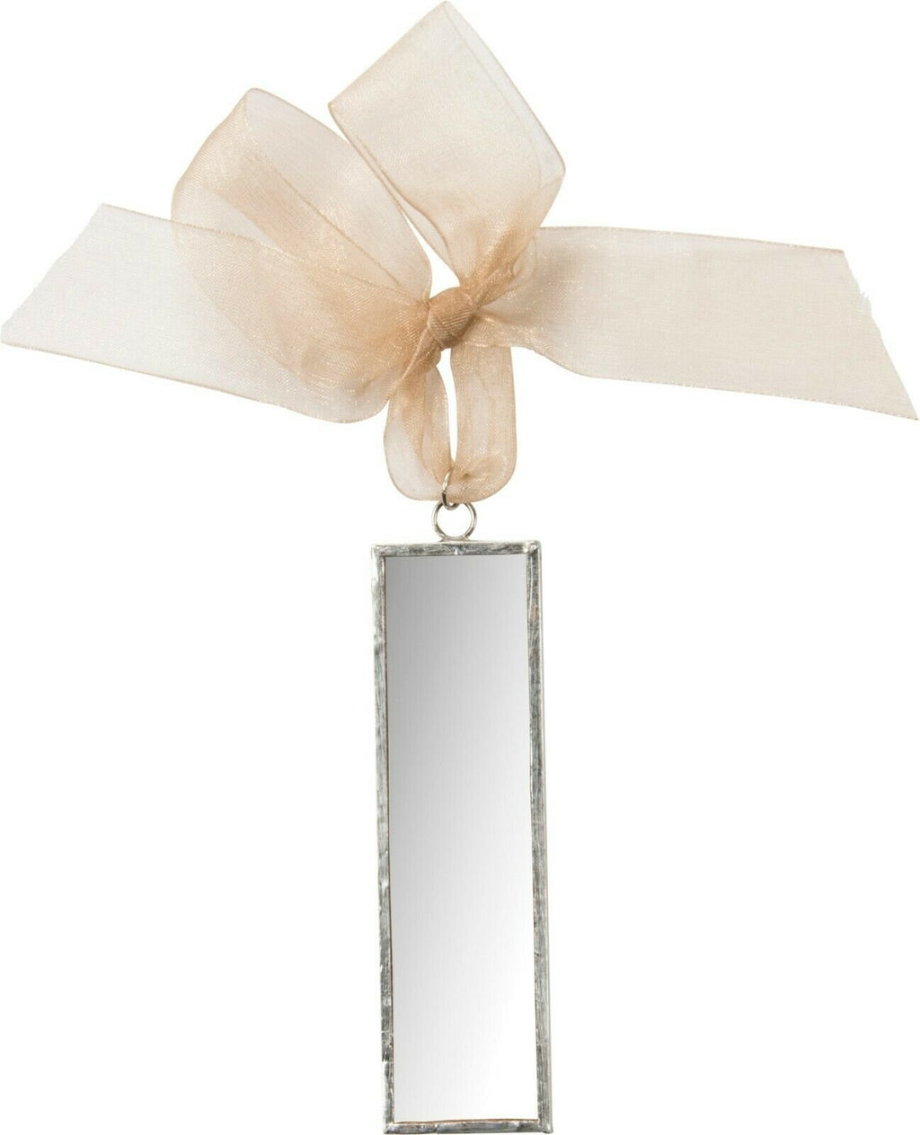 "Primitives by Kathy Mirror Metal 1.3"" Rectangle Christmas Ornament with Ribbon - Piglet's Closet"