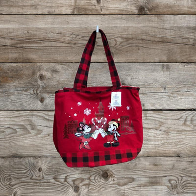 Disney Parks Mickey and Minnie Mouse Holiday Christmas Zipper Tote Bag - Piglet's Closet