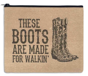 "Colonial Tin Works ""These Boots Are Made for Walking"" Canvas Travel Makeup Bag - Piglet's Closet"