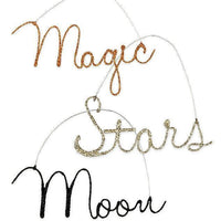 Bethany Lowe Halloween Glitter Wire Word Ornament Magic Moon Stars - Piglet's Closet
