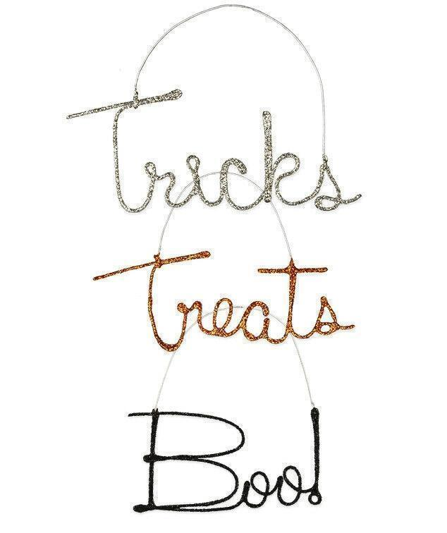 Bethany Lowe Halloween Glitter Wire Word Ornament Tricks Treats Boo - Piglet's Closet