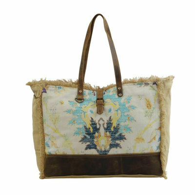 Myra Upcycled Canvas & Tapestry Survivor Blue Taupe Weekender Bag Purse - Piglet's Closet