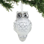 Dept 56 Glass Glitter Silver and White Owl Ornament HOOT - Piglet's Closet