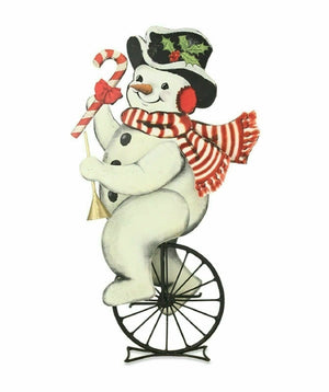 Bethany Lowe Christmas Tin Snowman On Unicycle Figure #TF8614 - Piglet's Closet