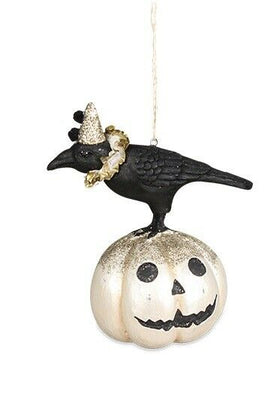 Bethany Lowe Designs Hallow Eve Crow on Pumpkin Ornament - Piglet's Closet