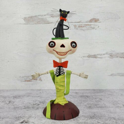 Dept 56 Halloween Funky Skeleton with Black Cat Bobble Head Figurine