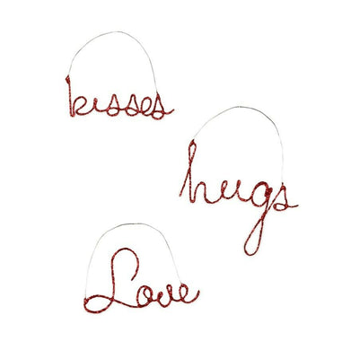 Bethany Lowe Valentine's Day Kisses, Love, Hugs Wire Metal Ornament Set - Piglet's Closet