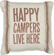 "Primitives by Kathy Happy Campers Live Here Farmhouse 9.5"" Throw Pillow - Piglet's Closet"